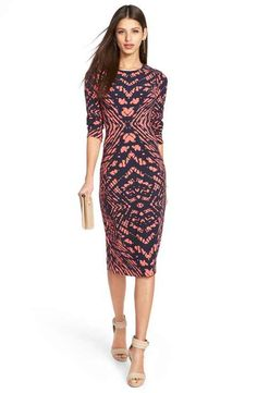 Maggy London Tie Dye Print Crepe Midi Sheath Dress
