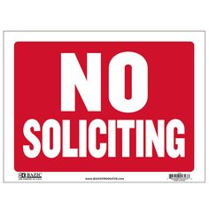 """States """"No Soliciting"""" in white and has a red backing Durable plastic, weatherproof Bright and highly visible 9 inch x 12 inch no soliciting sign"""