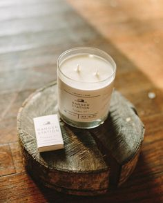 Monday night in with our Leather + Pine candle!