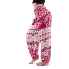 Women's Elephant Boho Harem Pants ($23) ❤ liked on Polyvore featuring pants, pink, yoga pants, pink yoga pants, lightweight pants, white pants and white trousers