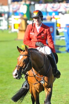 Location: Spruce Meadows (Calgary, AB Canada)    The 2012 Masters Tournament    Subject: Germany's Philipp Weishaupt with his 14 year old Holsteiner Stallion; Catoki