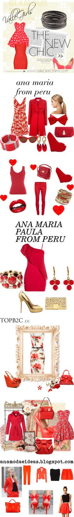 """""""THE BEST SETS IN RED OF ANA MARIA PAULA FROM PERU"""" by anamariapaula on Polyvore"""
