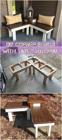this diy corner bench has a built in end table perfect for a front