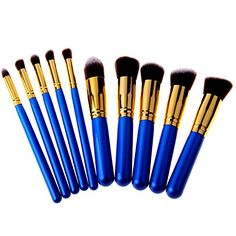 Unimeix 10 Pcs Premium Synthetic Kabuki Makeup Brush Set Cosmetics Foundation Blending Blush Eyeliner Face Powder Brush Makeup Brush Kit (Blue Golden) * Find out more about the great product at the image link. (Note:Amazon affiliate link)
