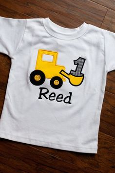 Personalized Bulldozer Birthday Shirt  Applique by TheWhimzyTree, $24.00