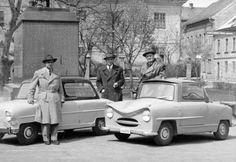 Prototypes of Hungarian mini cars 'Alba Regia' and 'Balaton' on display, 1955.
