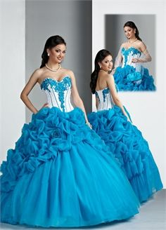 Ball Gown Sweetheart Embroidery Floor-length with Ruffles Organza quniceanera dress QD078
