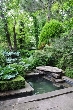 What a serene, relaxing #garden space. #fountain #trees | Via Three Dogs in a Garden