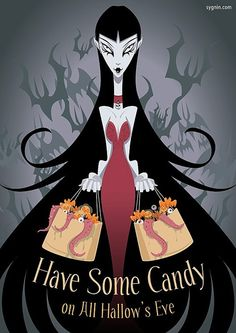 Have some candy on All Hallow's Eve. Halloween artwork.