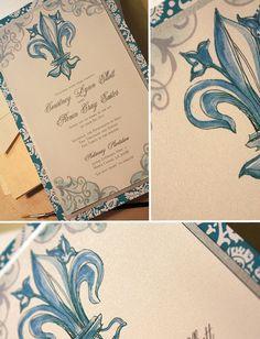 Aqua and Silver, Fleur de Lis Custom, Hand Painted Wedding ...