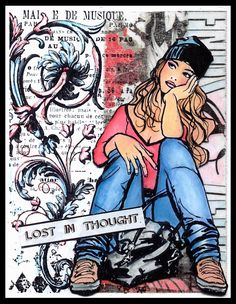 """anjas-artefaktotum - """"lost in thought"""". Cas, Sheena Douglass, Lost In Thought, Unity Stamps, 3 Arts, Indigo Blue, Cool Cards, Mixed Media Art, Altered Art"""