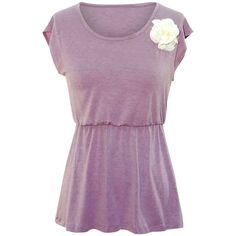 Lavender V-back Short Sleeve Flared Top With Rosette (55 PEN) ❤ liked on Polyvore featuring tops, lavender, rosette top, flare tops, purple sleeveless top, purple top and cut-out tops