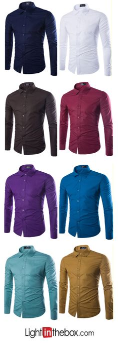 Men's Plus Size Casual/Daily Simple All Seasons Shirt