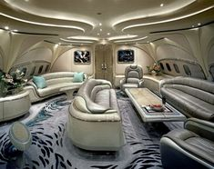 Living room with sofa in private jet