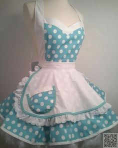 I Luv My Lucy Polka Dot Pin Up Costume Apron by PickedGreen. I want an apron! Retro Apron, Aprons Vintage, Pin Up, Vintage Mode, Cute Aprons, Sewing Aprons, Apron Designs, Kitchen Aprons, Diy Clothes