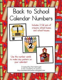 Back to School Calendar Numbers $3.00
