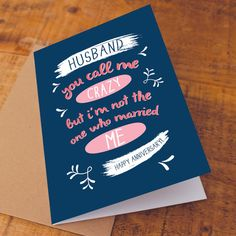 Happy Anniversary Card / for husband / Funny Anniversary Card / husband…