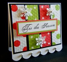 Very nice card.  I used red pearls at the bottom of the card, and ribbon in the middle. Turned out so nice and easy to do.