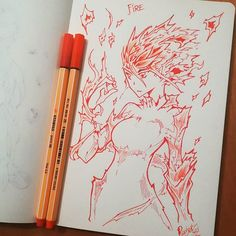 Reposting @redjet00: HAPPY NEW YEAR TO EVERYONE! For a burning, intense, fantastic year!! #redjetpatreon #redjet #art #sketch #happynewyear #fire #sketch #doodle #art #picoftheday #drawoftheday #artgram #stabilo #flame #color #traditionalart #girl #traditional