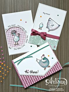 How cute is this card trio featuring the Hey Chick stamp set in the SAB blog hop!