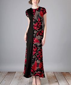 Look at this #zulilyfind! Black & Red Floral Scroll Cap-Sleeve Maxi Dress - Plus Too #zulilyfinds