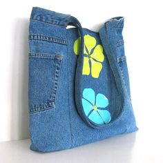 Upcycled clothing , Eco friendly bag , blue recycled jean shoulder bag , teenagers fashion handbag , denim tote bag