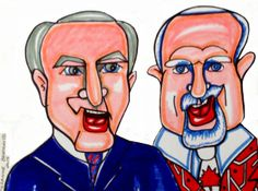 """Don Cherry CBC Hockey Commentator says: """"How does it feel to taste your foot in your mouth, Ron?"""" Ron McClean CBC Hockey Commentator answers: """"You are rubbing off on me. Corner Drawing, Don Cherry, Hockey, Ron Ron, Coaching, Original Art, Canada, Drawings, Illustration"""