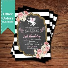 Invitación del cumpleaños del chica del unicornio. Negro raya blanca pizarra floral, min turquesa, oro brillo. Cualquier edad. invitación digital. KB182