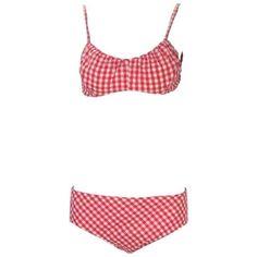 9fadc1ac07 1960s Cole of California White and Red Checkered Print Cotton Bikini with  Headband