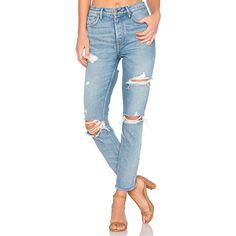 GRLFRND Karolina High-Rise Skinny Jean (330 CAD) ❤ liked on Polyvore featuring jeans, destroyed skinny jeans, high-waisted skinny jeans, high waisted ripped jeans, ripped jeans and high waisted ripped skinny jeans