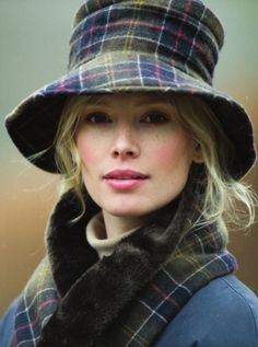 Barbour tartan hat and scarf