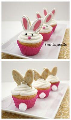 Niedliche Idee. Cupcakes mit Hasenöhrchen aus Keks!