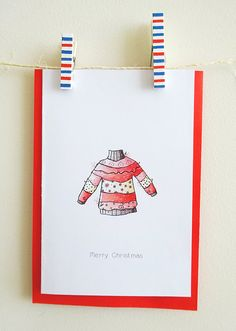 Unique and Cute Christmas Card With Whimsical And Beautiful Illustration - Set Of Personalized Greeting Card