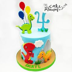 What a cool Dino cake we made for Daryl's 4th Birthday! 🦖 tag a friend who would love this cake! #dinosaur #birthday #thecakemamas