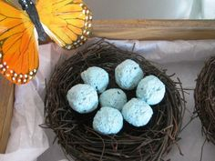 plantable seed bomb favors in simple rustic birds nest.  seed bombs can be customized to any color and are made with wildflower seeds.  Great for a rustic wedding, ecofriendly wedding, baby shower, bridal shower, etc!
