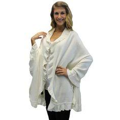 Luxury Divas Ivory White Ruffled Edge Knit Poncho Shawl Cloak Cape Wrap