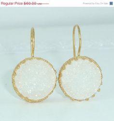 HOLYDAYS SALE Druzy Earrings White Druzy Drop by inbalmishan, $51.00