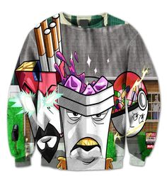 4b89ded368 Aqua Teen Crewneck Graphic Sweatshirt