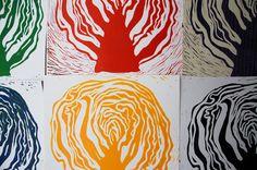 linocut cabbage prints