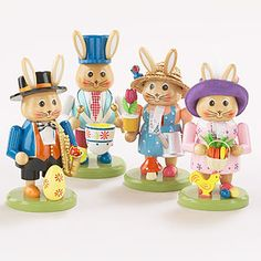 Absolutely adorable! Bring the nutcrackers to life in the Spring with these Easter Bunny Nutcrackers! A complete set of 4!