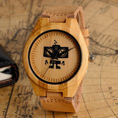 Check current price Cool Recorder Robot Design Light Wood Watch with Brown Genuine Leather Band Hand-made Quartz Wooden Wristwatch for Men just only $23.25 with free shipping worldwide  #menwatches Plese click on picture to see our special price for you