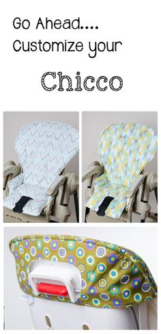 Handmade and stylish replacement high chair covers for Chicco. www.sewplicity.com  Covers for:  Polly, Mamma