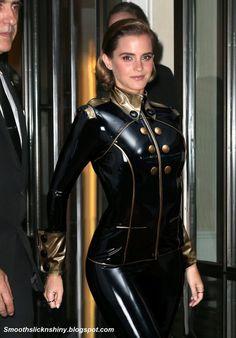 ML Emma Watson in black and gold Latex by Andylatex.deviantart.com on @DeviantArt