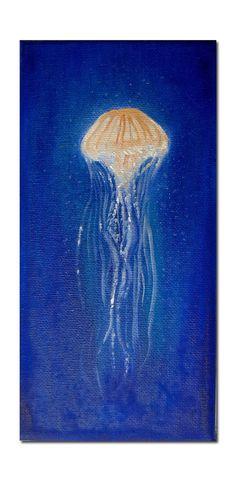 Original Oil Painting Little Medusa Painting Art - Jellyfish - Underwater life Jelly Fish