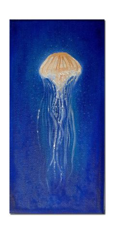 Original Oil Painting Little Medusa Painting Art - Jellyfish - Underwater life Jelly Fish