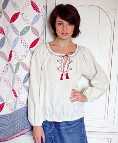 Embroidered gypsy blouse - Making Magazine - Crafts Institute - free pdf pattern.  The cross stitch yoke design is in the November 2012 issue of Making.