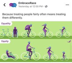 Because treating people fairly often means treating them differently.  Source: Robert Wood Johnson Foundation / EmbraceRace