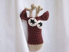 Kids Reindeer Brooch Animal Brooch Crochet Jewlery by LoopySheep