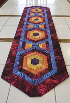 Bright Bold Quilted Batik Table Runner by Quiltsbysuewaldrep