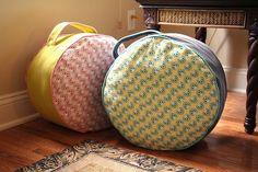 Best Decor Hacks : Description Make a Floor Pouf Floor Pouf, Floor Cushions, Diy Pouf, Leather Pouf, Gifts For Photographers, Square Photos, Pouf Ottoman, Pottery Barn Kids, Creative Gifts